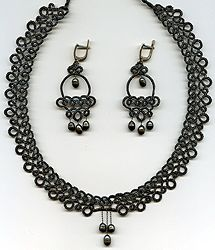 Exclusive lace sets of frivolite:: A lace frivolite of Elena Ignatova, master of folk creation, Ukraine, Kharkov :: Jewellery knot shuttle lace of frivolite (schiffchenspiize), ear-rings, bangles, necklace, natural stone and skin with a lace, style The Gothic Black-art