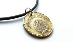 Your place to buy and sell all things handmade Coin Jewelry, Coin Necklace, Leather Necklace, Necklaces, Euro Coins, Brass Patina, Sliding Knot, Coin Pendant, Me Clean