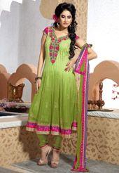 Shaded Light Green Faux Chiffon Anarkali Churidar Kameez