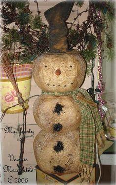 Primitive Christmas Snowman Shelf Tuck Rusty Bell Pin Star Wire Rustic Zinc Lid