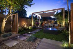 Modern Backyard Design, Patio Design, Garden Design, Tree Lighting, Enjoy It, Sidewalk, Home And Garden, Exterior, Outdoor Decor