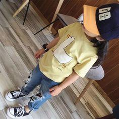 Goose Tee – Imarya kids- imarya.com Stylish Kids Fashion, Summer Outfits, Girl Outfits, Summer Trends, Girls Dresses, Yellow, Tees, Swimwear, Cotton