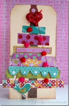 colorful scrap tree card