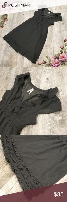 MAKE AN OFFER ;) Ruffle Cap Sleeve Dark Gray Dress In excellent condition. Anthropologie Maeve dress . Elastic waist Anthropologie Dresses Midi