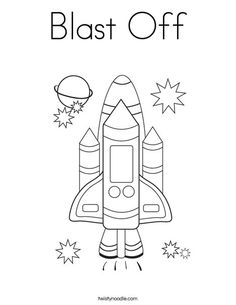 Blast Off Coloring Page - Twisty Noodle