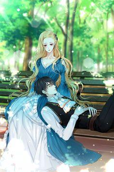 Return of the female knight - korean ranobe - art Anime Couples Drawings, Anime Couples Manga, Anime Poses, Anime W, Chica Anime Manga, Kawaii Anime, Manga Girl, Manga Love, Anime Girl Dress