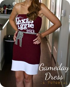 Turn your favorite game day t-shirt into your favorite dress with this awesome tutorial by Sweet Verbena!