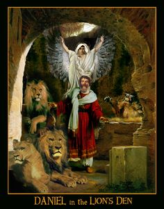 """""""Daniel in the Lions Den""""  Pre-Raphaelite Art; Contemporary Symbolist Art influenced by the Pre-Raphaelite Brotherhood in a variety of mixed media by Howard David Johnson."""