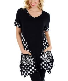 Love this Black & White Polka Dot-Panel Sidetail Tunic by Aster on #zulily! #zulilyfinds