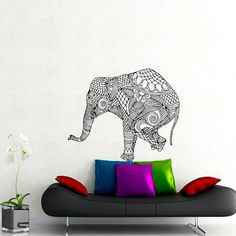 Wall Decals Elephant Indian Pattern Yoga Decal Vinyl Sticker Decor Home Interior Design Murals Bedroom Dorm Window MN413