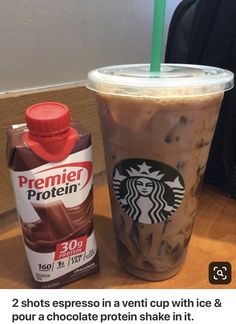 2 shots espresso in a venti cup with ice & pour a chocolate protein shake in it. Boom, like a chocolate mocha 😋 2 shots espresso in a venti cup with ice & pour a chocolate protein shake in it. Boom, like a chocolate mocha 😋 Protein Snacks, Pancakes Protein, Protein Shake Recipes, Healthy Protein, Low Carb Protein Shakes, High Protein, Protein In Food, Pure Protein, Keto Snacks