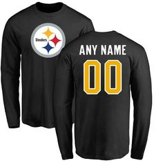 e76e8d057d5 Pittsburgh Steelers NFL Pro Line Any Name   Number Logo Personalized Long  Sleeve T-Shirt - Black