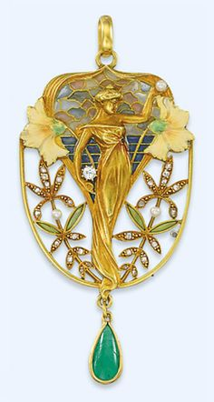 AN ART NOUVEAU GEM-SET ENAMEL PENDANT, BY LUIS MASRIERA  Depicting a sculpted gold standing female, the raised hand holding a seed pearl, the other supporting a diamond, against a polychrome plique à jour ground with floral detail, the rose-cut diamond, enamel and seed pearl openwork plaque suspending a later articulated cabochon emerald drop, mounted in gold, circa 1905, 7.7cm long  Signed Masriera Hs