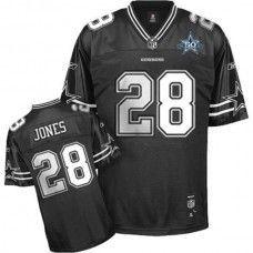 Cowboys  28 Felix Jones Black Shadow Team 50TH Patch Stitched NFL Jersey c80b1dccb