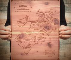 Wood Engraved Cities Map - LOVE!
