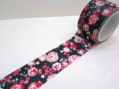 Washi Tape 30mm black red flower by shekphoebe on Etsy