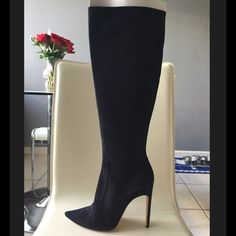 """Herve Leger black suede knee high Lucia boots 39 8 Authentic brand new Herve Leger Lucia Boots Size 39. They will fit a size 8; They run a size small like most Herve Leger boots do. Please know your Herve Leger size.  These boots are made of gorgeous black suede, with an inside zipper.  The heel height is 4.5"""" and they have a shaft height of 16"""" (knee length).  They retail for $1,200!  They come with two dust bags and original box ; the lid is torn, but the box is still in functional shape…"""