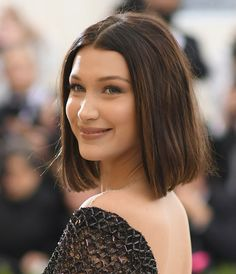 Bella Hadid Mid-Length Bob - Bella Hadid looked lovely with her classic lob and sweet smile at the 2017 Met Gala.