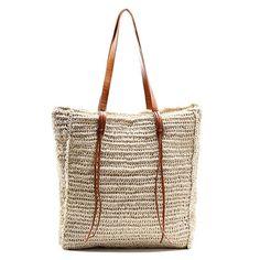 Miss Fong Designer Women Straw Summer Beach Bag Tote Bag Shoulder Bag Handmade Handbag * You can get more details by clicking on the image.