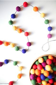 Felt ball garland...possibly in just red & green?
