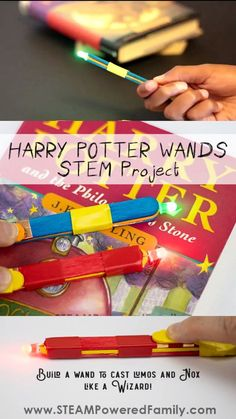 Harry Potter Wand STEM Project - Cast Lumos & Nox like magic LUMOS! Young witches and wizards will love making this simple circuit wand that lights up on command! A fantastic STEM project that is simply magical. Steam Activities, Kindergarten Activities, Science Activities, Activities For Kids, Science Education, Science Experiments, Preschool Crafts, Stem Projects, Science Projects
