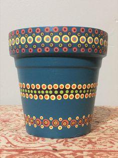 Flower Pot Art, Flower Pot Design, Clay Flower Pots, Flower Pot Crafts, Vase Crafts, Clay Pot Crafts, Plant Painting, Dot Art Painting, Mandala Painting