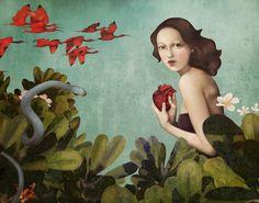 In the Garden of Good and Evil by Daria Petrilli. ~via Daria Petrilli, FB Art And Illustration, Fantasy Kunst, Fantasy Art, Daria Petrilli, Art Fantaisiste, Pop Surrealism, Italian Artist, Art Studies, Whimsical Art