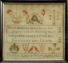 ≗ The Bee's Reverie ≗ bEnglish wool on linen sampler with bee verse, wrought by Martha Riley 1862.