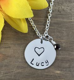 Personalized, Handstamped Little Girl Name Necklace - Little Girl Heart Necklace - Birthday Party Favors by SunflowerShadows on Etsy