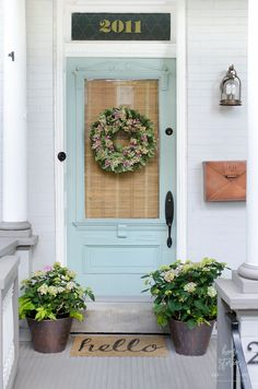 This is a sponsored conversation written by me on behalf of Endless Summer Hydrangeas. The opinions and text are all mine. It's been almost a month since we left our urban farmhouse in Pennsylvania…MoreMore Urban Farmhouse, Farmhouse Style, Farmhouse Decor, Front Door Colors, Front Door Decor, Front Doors, Front Stoop, Front Porches, Front Entry