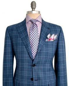 Image of Kiton Blue Plaid Sportcoat