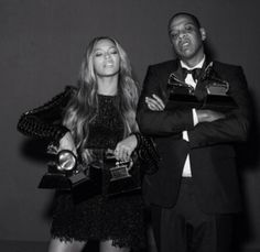 Beyoncé & Jay Z excepting awards At the 2015 57th Grammys awards
