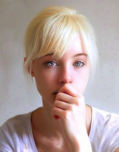 blue eyes - bangs - blonde - hair tied up - white shirt - hand over mouth - female - shoulder up portrait Blonde Hair Freckles, Freckles Girl, Blonde Hair Girl, Blonde Women, Blonde Bangs, Pretty People, Beautiful People, Beautiful Gorgeous, Actrices Sexy