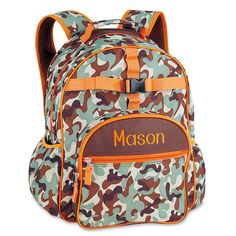 Orange/Brown Camo Backpack $34.99