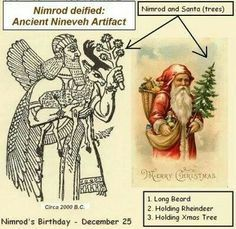 The Ancient Sumerian God Nimrod, was the first Santa Klaus.that the first Christmas celebrations were in reaction to the Saturnalia - a. Roman harvest ... ancient pagan festivals which honored other gods. Christmas is a ... the ceremonies invented by Nimrod and Semiramis and practiced by the ancient ...