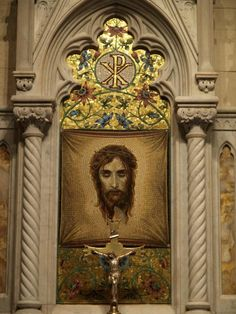 Altar of the Holy Face (Saint Veronica's Veil) at St. Patrick's Cathedral. Pray for the conversion of sinners. #PrayForConversions