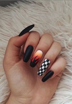 47 Amazing Black Nail Designs - Page 40 of 47 - Lily Fashion Style Acrylic Nails Coffin Short, Simple Acrylic Nails, Summer Acrylic Nails, Best Acrylic Nails, Acrylic Nail Designs, Summer Nails, Coffin Nails, Spring Nails, Edgy Nails