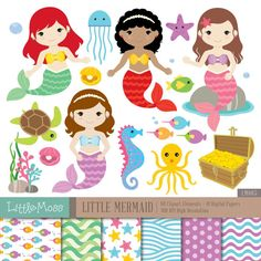 Little Mermaids Digital Clipart and Papers Under the Sea Web Design, Design Blog, Little Mermaid Birthday, The Little Mermaid, Under The Sea Clipart, Mermaid Crafts, Alice, Party Banners, Sketches