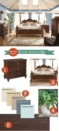 Here are some tips from HGTV on how to get the look: ~ 1. Use dark wood furnishings like Mahogany or use dark stain.  ~ 2. Add texture. Textural interest can be found in rugs, bedding, baskets or pillows.  ~ 3. Light colored walls. Sea tones on blue or green and different shades of white really pop when paired with dark wood furniture.  ~ 4. Liven up your room with greenery such as ferns or tropical plant varieties.  ~ 5. Opt for dark floors to ground your entire look.