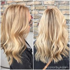 Blonde balayage - hair paint root touch up - butter blonde