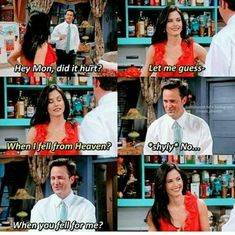 Chandler and Monica everybody - More memes, funny videos and pics on Friends Funny Moments, Serie Friends, Friends Scenes, Funny Friend Memes, Friends Episodes, Friends Cast, Friends Show, Funny Memes, 9gag Funny