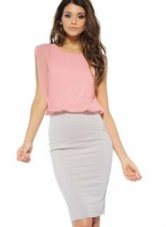 Contrast Chiffon Sleeveless Midi Dress,  Dress, Peach  Pastel  Bodycon, Chic