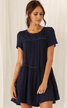 Vestido gasa manga corta-azul marino 16.55