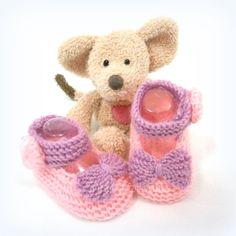 Chaussons bébé ballerines tricotées roses et mauves 3 mois Tricotmuse : Mode Bébé par tricotmuse