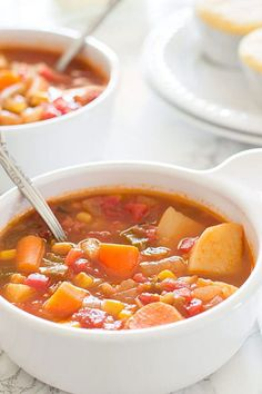 This vegan vegetable stew is made with potatoes, corn, carrots, and celery simmered in a slightly spicy, tangy tomato base. A flavor-packed, low-calorie dinner that just happens to be vegan.
