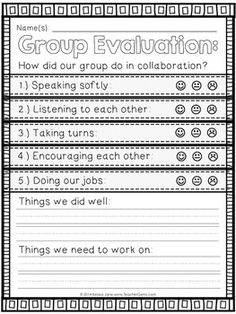 GROUP EVALUATION CHART & POSTER SET - TeachersPayTeachers.com