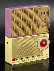 Vintage collectible transistor radios: Emerson 849 and Magnavox AM-2
