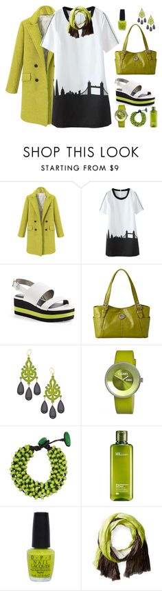 """""""Chartreuse Chic"""" by feelgood35 ❤ liked on Polyvore featuring Circus By Sam Edelman, Relic, David Aubrey, Crayo, NOVICA, Origins, OPI, Michael Stars, white and black"""
