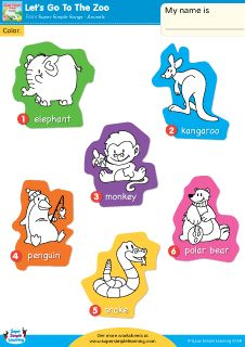 Free Let's Go To The Zoo Worksheet – Vocabulary Coloring from Super Simple Learning