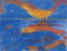 herzogtum-sachsen-weissenfels: Emil Nolde (German Danish, 1867-1956), Red Clouds, n.d. Watercolor on handmade paper, 34.5 x 44.7 cm.